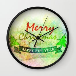 Green Merry Christmas Happy New Year Wall Clock