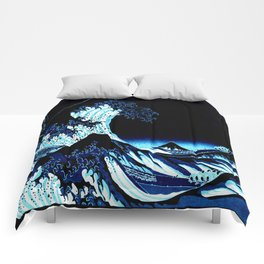 the Great Wave Blue Comforters