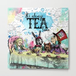 Alice in Wonderland - Tea Time Metal Print