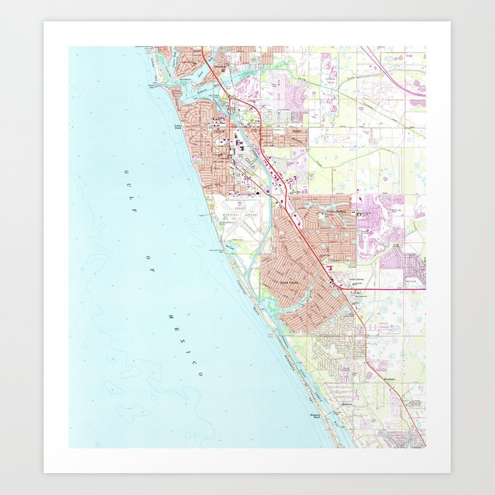 Map Of Venice Florida.Venice Florida Map 1973 Art Print By Bravuramedia Society6