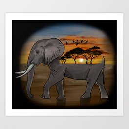 African Elephant, African Sunset, Black Background Art Print