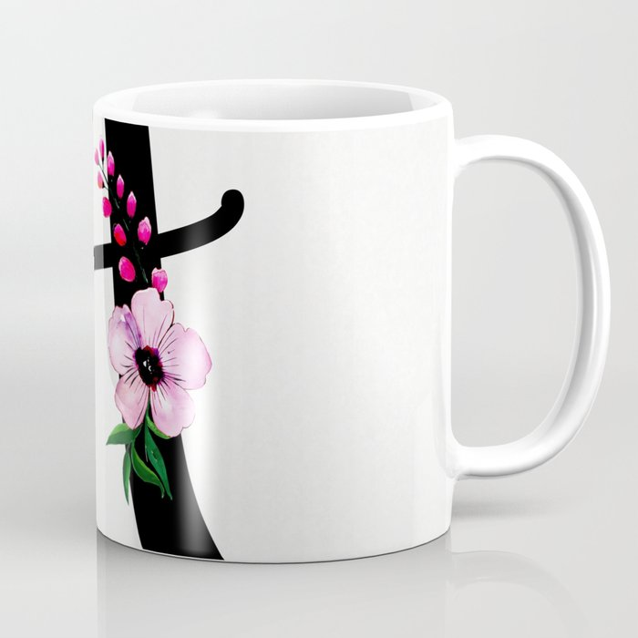 Letter A Watercolor Floral Background Coffee Mug