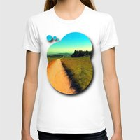 hiking T-shirts featuring Hiking on a hot afternoon by Patrick Jobst