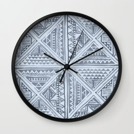 Simply Tribal Tile in Indigo Blue on Sky Blue Wall Clock