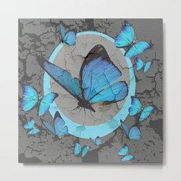 SHABBY CHIC  NEON BLUE BUTTERFLIES  & CHARCOAL GREY  N MOD Metal Print