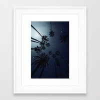 Framed Art Prints featuring Palm Trees, Night Sky, Stars, Moon by va103