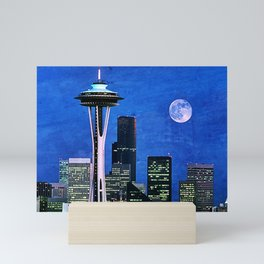 Blue Seattle Space Needle Mini Art Print