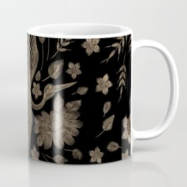 Golden Embroidery Crone and Flowers Coffee Mug