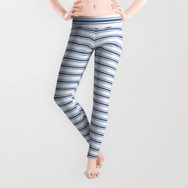 Mattress Ticking Narrow Horizontal Stripe in Dark Blue and White Leggings