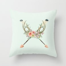 arrows and flowers Throw Pillow