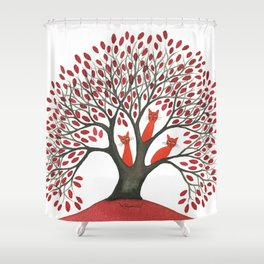 Red Oak Whimsical Cats in Tree Shower Curtain