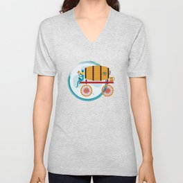 Leprechaun with Rolling Pub, Beer and Mugs Unisex V-Neck