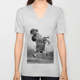 Signs Your Neighbor May Be Spending Too Much Time with his Chickens - black and white photograph Unisex V-Neck