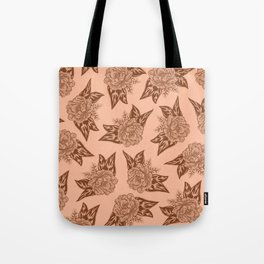 Cabbage Roses in Rust Tote Bag