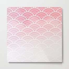 Pink Ombre Japanese Waves Pattern Metal Print