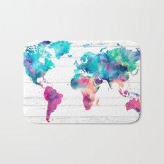 World Map Watercolor Paint on White Wood Bath Mat