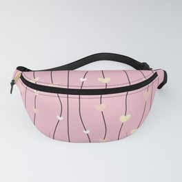 Pink swirls with hearts pattern background Fanny Pack