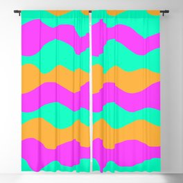 Copy of vibrant vivid abstract pink, green and blue ocean waves decorative modern graphic design Blackout Curtain