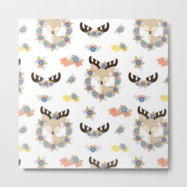 Floral Deer Neck Gator Cute Deer White Metal Print