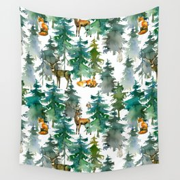Woodland Friends Wild Animals In Forest Wall Tapestry