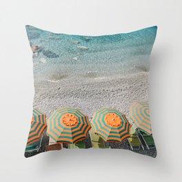 Umbrellas on the beach Throw Pillow