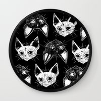 kittens Wall Clocks featuring Kittens  by lOll3
