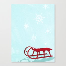 Red sledge in the snow Canvas Print