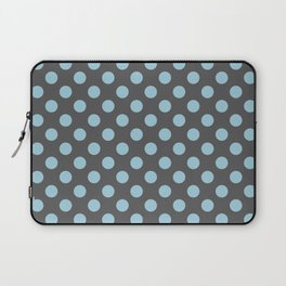 Large Polka Dots in Light Blue on Charcoal Gray Laptop Sleeve