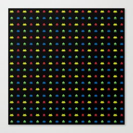 space aliens invaders stylish gamer art Canvas Print