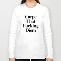 drawing Long Sleeve T-shirts featuring Carpe by WRDBNR