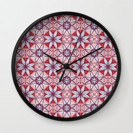 Red Lisbon Tile Geometric Print Wall Clock