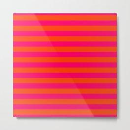 Super Bright Neon Pink and Orange Horizontal Beach Hut Stripes Metal Print