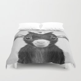 Baby Goat - Black & White Duvet Cover