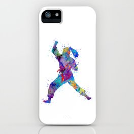 Karate Girl Martial Arts Colorful Watercolor Sports Art iPhone Case