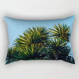 Minimalist Art Palm Tree Against Blue Sky Rectangular Pillow