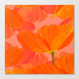 Beautiful Poppies Coral Color Background #decor #society6 #buyart Canvas Print