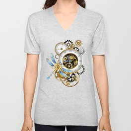 Dials with Dragonfly ( Steampunk ) Unisex V-Neck