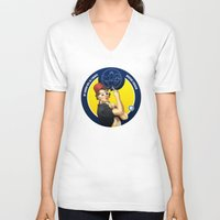 feminism V-neck T-shirts featuring Whovian feminism by ElinJ