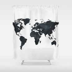 World Map in Black and White Ink on Paper Shower Curtain
