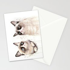 Grumpy Watercolor Cats Stationery Cards