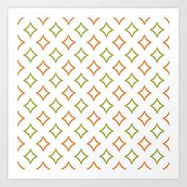 Custom Green and Orange Geometric Diamond Patterns Art Print