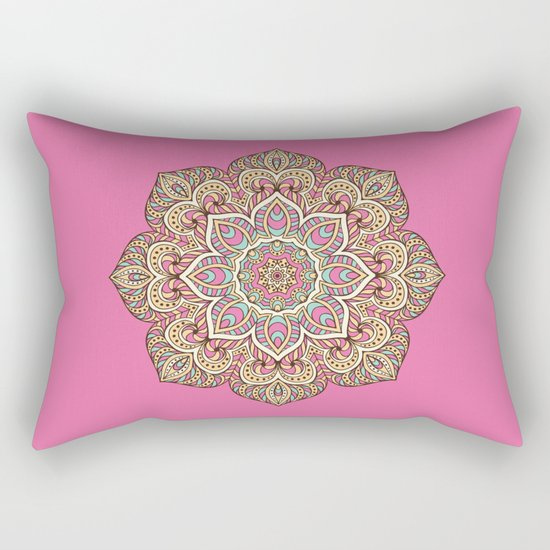Pink Mandala Rectangular Pillow