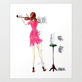 The Violin Player - Fashion Illustration Art Print