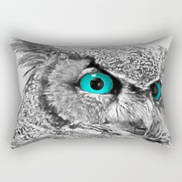 Black and White Great Horned Owl w Aqua Eyes A174 Rectangular Pillow