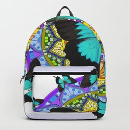 PURPLE AMETHYST BLUE BUTTERFLY MANDALA  WHITE ART Backpack
