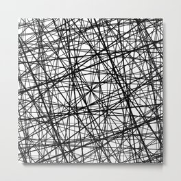 Geometric Collision - Abstract black and white Metal Print