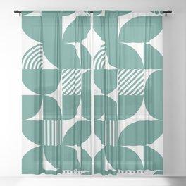 Green Blue Mid Century Bauhaus Semi Circle Pattern Sheer Curtain