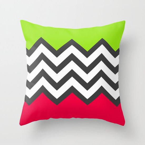 Color Blocked Chevron 5 Throw Pillow