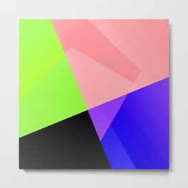 Trendy Bright Chic Color Blocks Pattern Metal Print