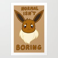 eevee Art Prints featuring normal eevee by deerboywonder